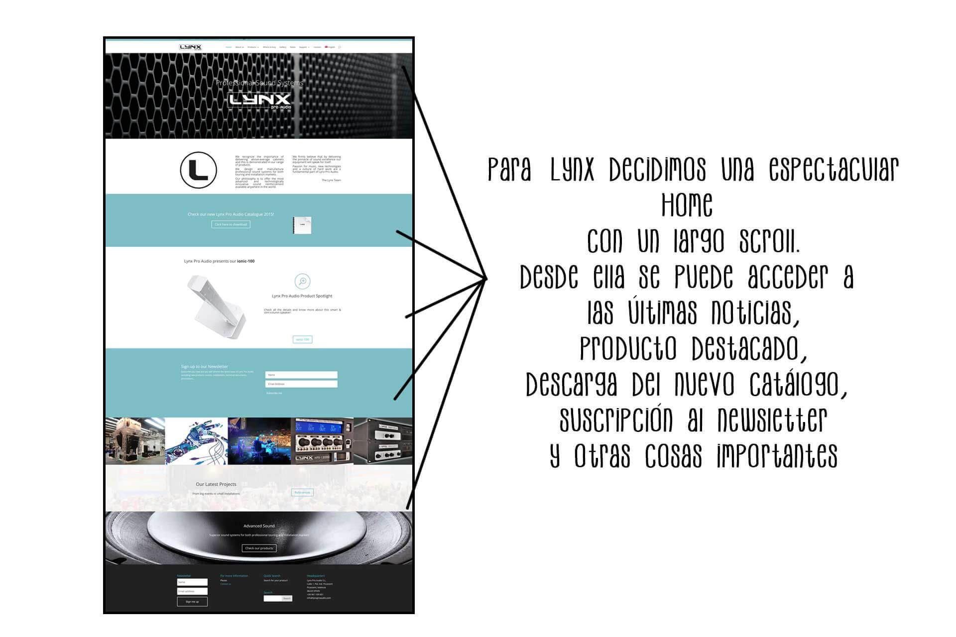 Página web Lynx Pro Audio Home | The Superway Webs