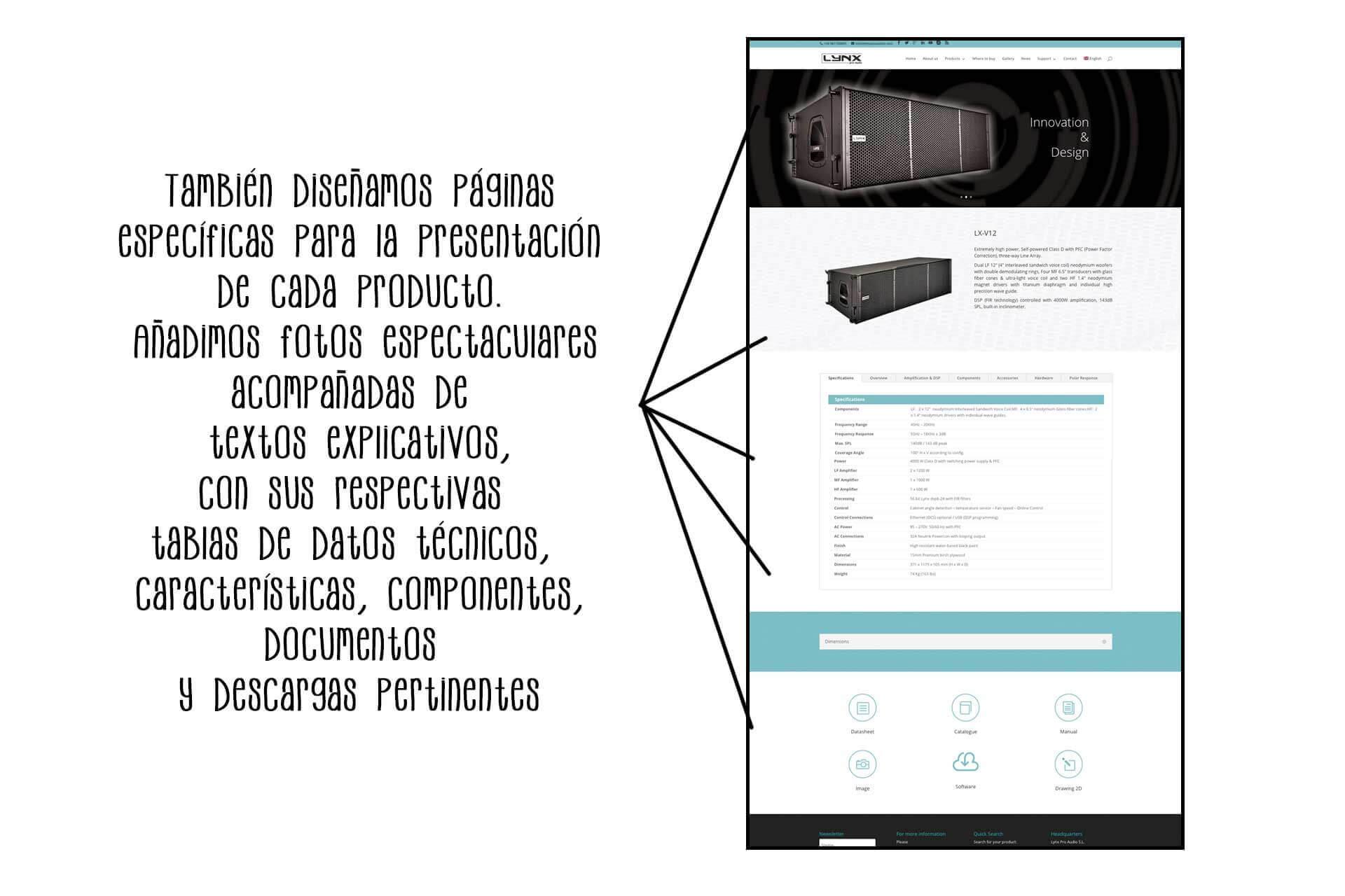 Página web Lynx Pro Audio producto | The Superway Webs