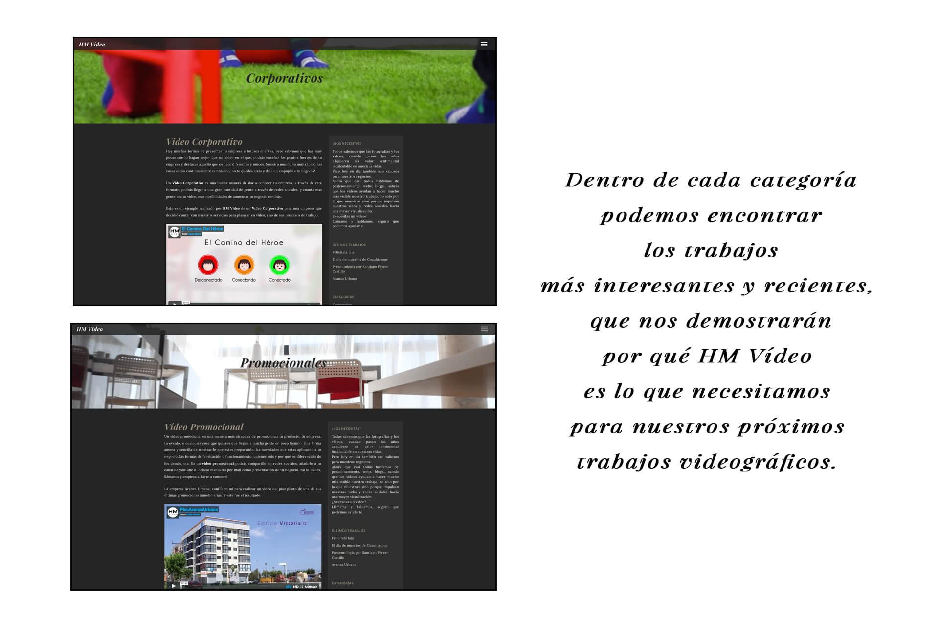 Página web HM Vídeo categorías | The Superway Webs