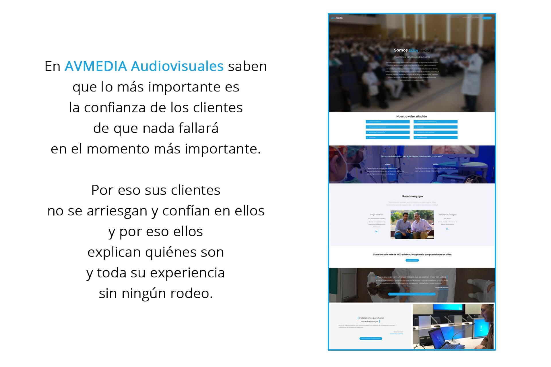 Página web AVMedia Audiovisual Nosotros | The Superway Webs