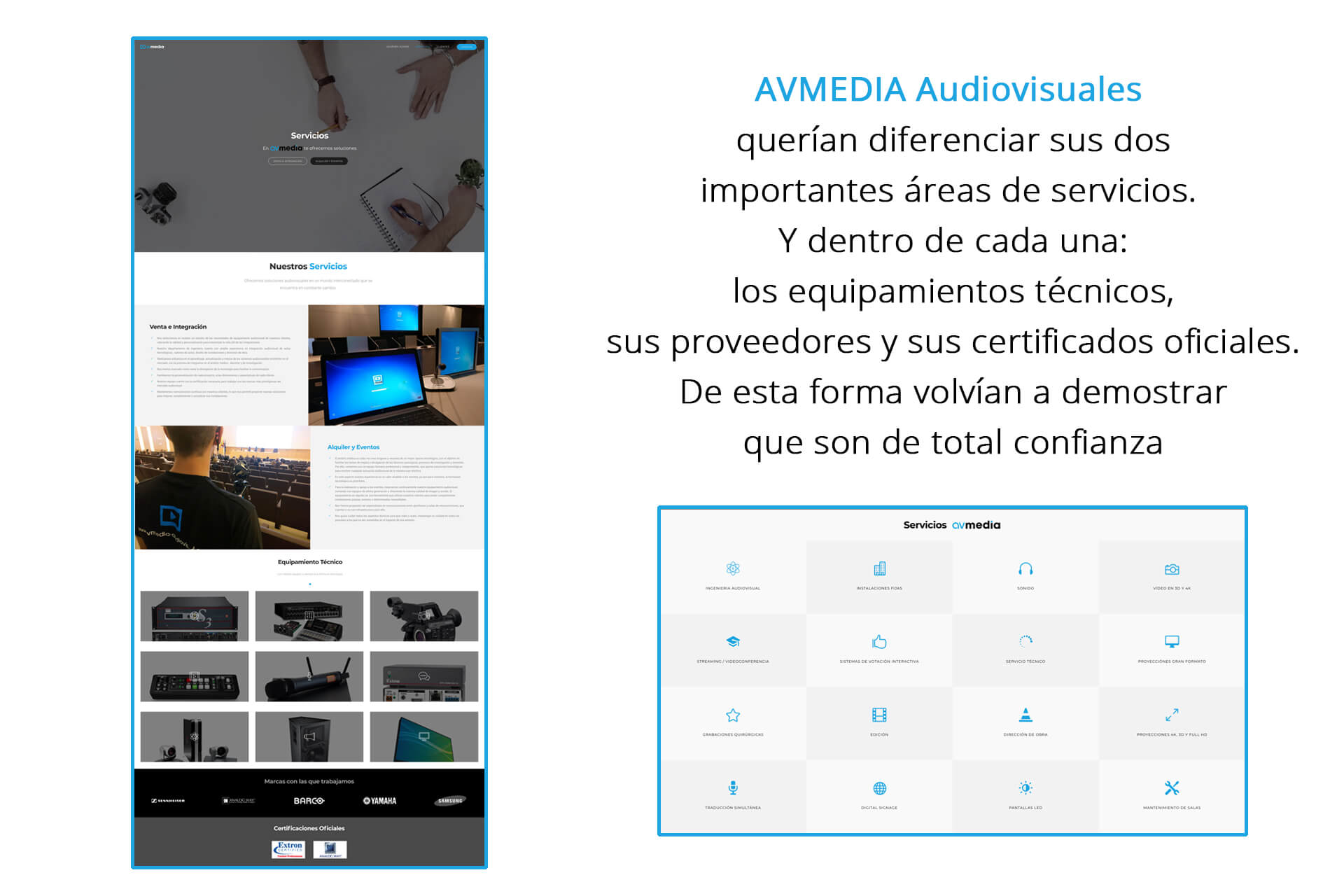 Página web AVMedia Audiovisual Servicios | The Superway Webs