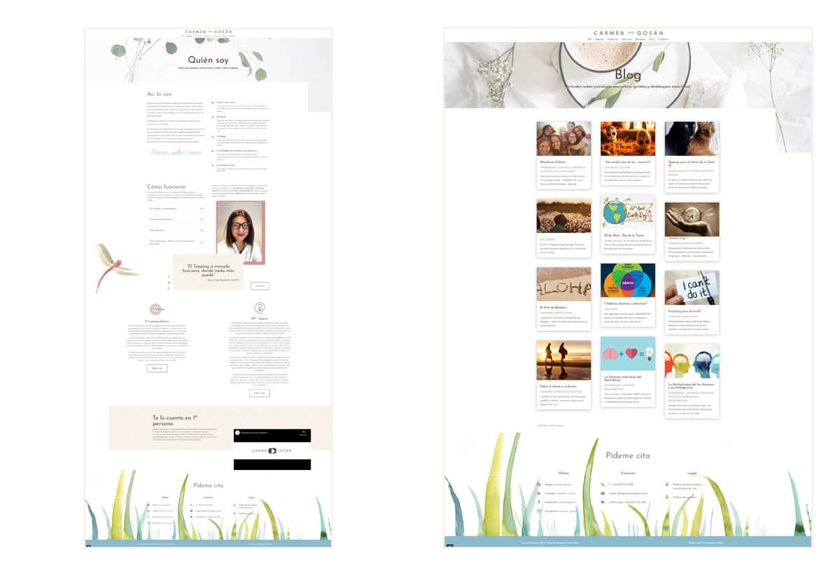 Páginas Blog y Quién soy web Carmen Gosän