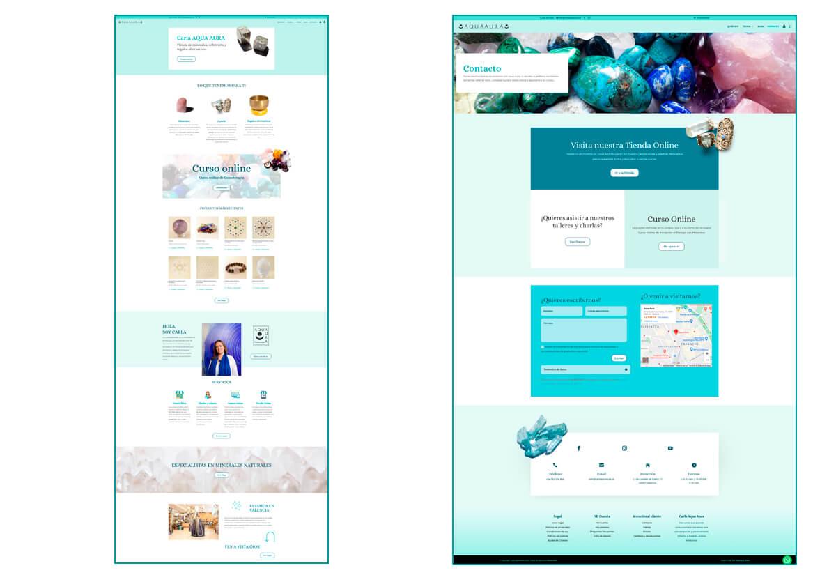 Diseño Home y página de Contacto de Carla Aqua Aura