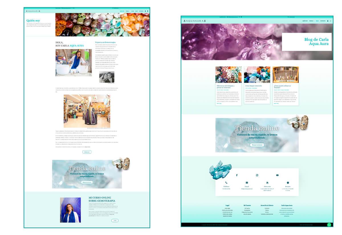 Diseño páginas Bio y Blog de la web de Carla Aqua Aura