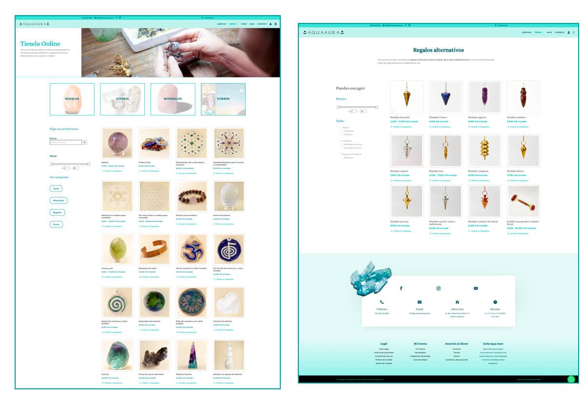 Diseño páginas Tienda online y Categoría de producto de la web de Carla Aqua Aura