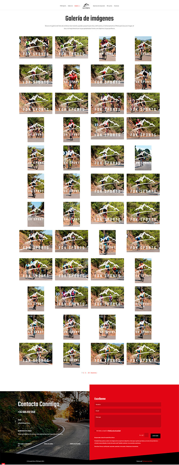 Diseño web página opciones de impresión fotografías deportivas FDK Sports