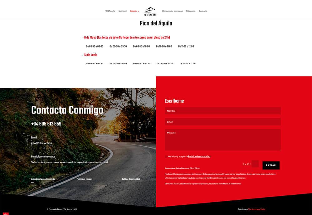 Diseño web página filtro por días y horas FDK Sports